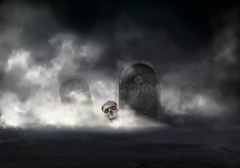Zombi subido en el vector realista del cementerio de la noche stock de ilustración