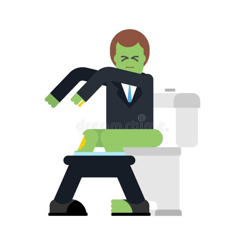 Zombi sur la toilette Homme mort vert dans la carte de travail Illustration de vecteur illustration libre de droits