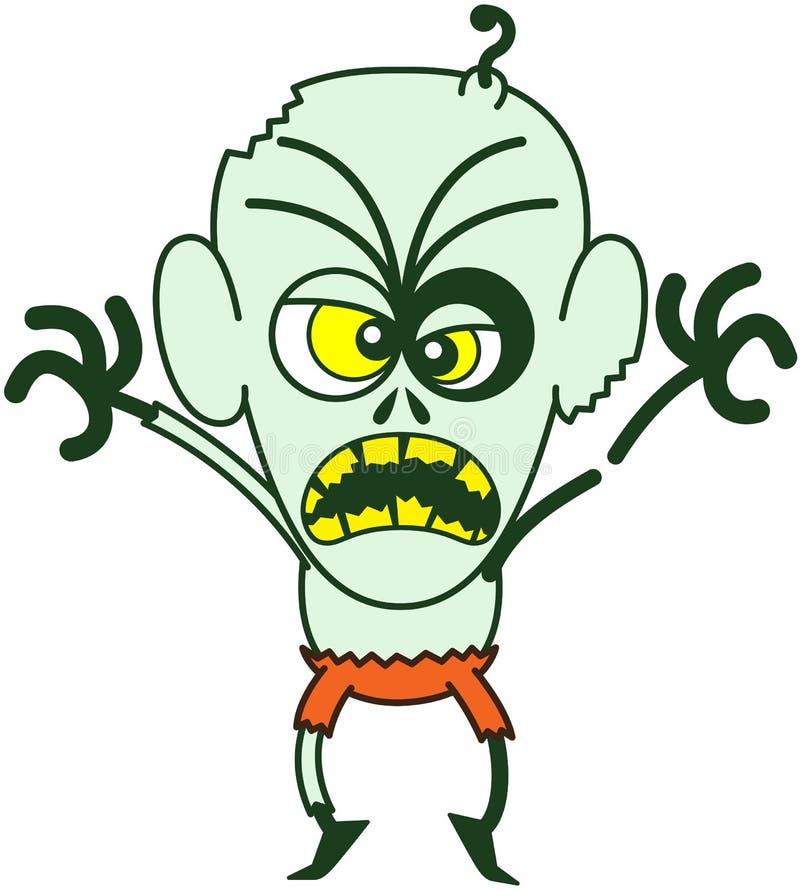 Zombi terrible de Halloween étant effrayant illustration de vecteur