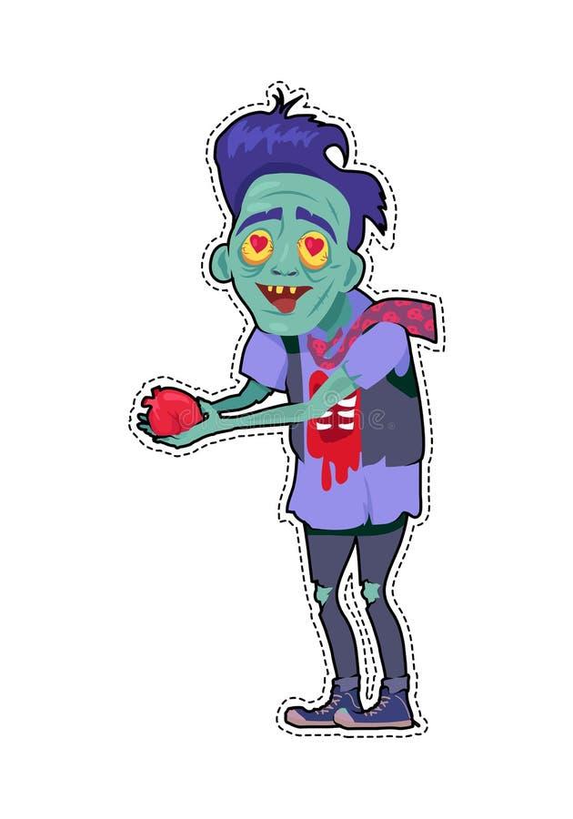 Zombi Valentine Man Flat Vetora Illustration ilustração stock