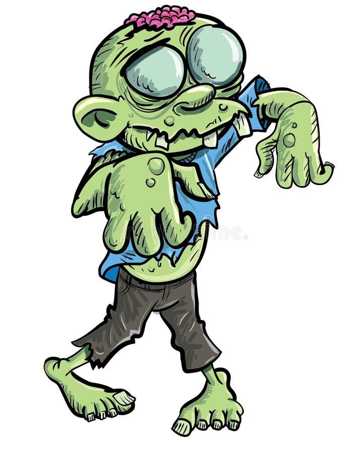Zombi verde bonito dos desenhos animados. ilustração royalty free
