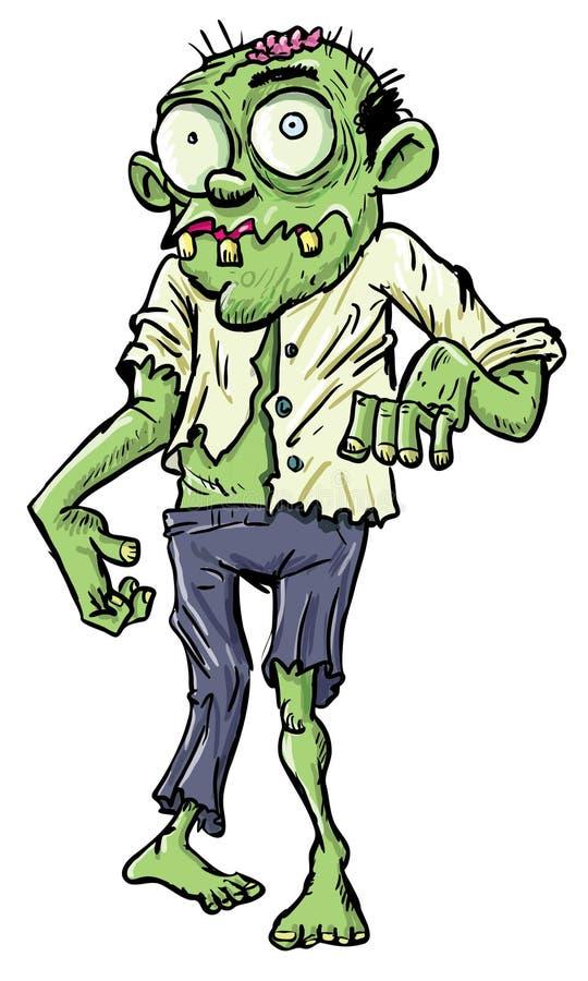 Zombi verde do homem de negócios dos desenhos animados. ilustração do vetor