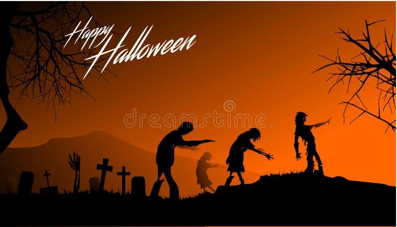 Zombieën die bij Halloween-nacht lopen vector illustratie