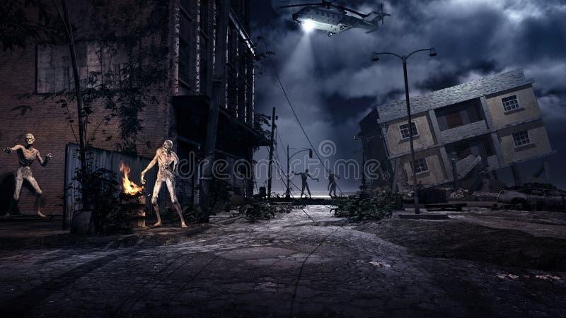 Zombieën op de straat royalty-vrije illustratie