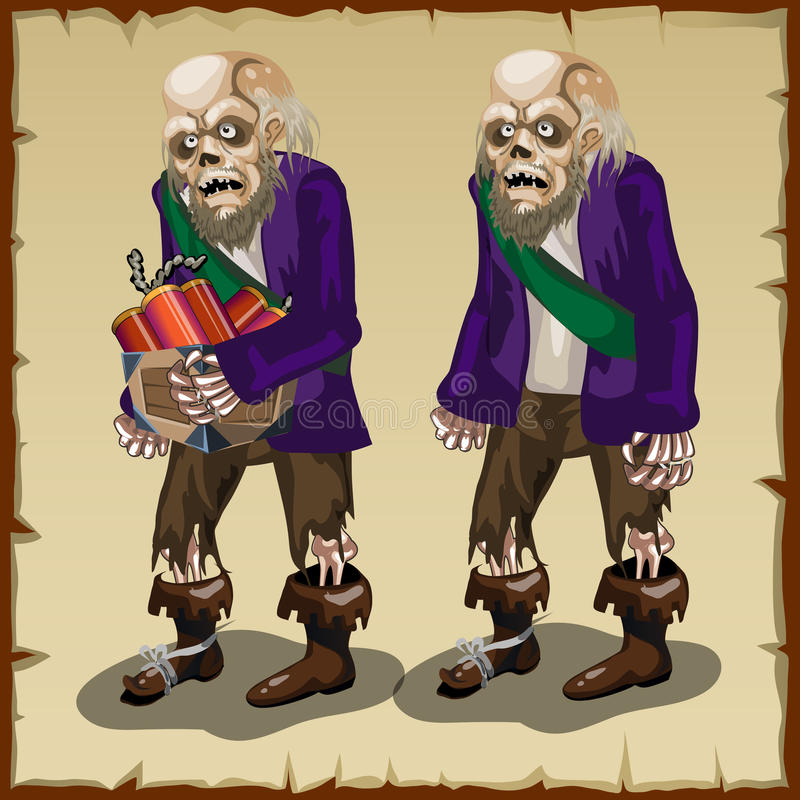 Zombie με το δυναμίτη, χαρακτήρας κινουμένων σχεδίων για ελεύθερη απεικόνιση δικαιώματος