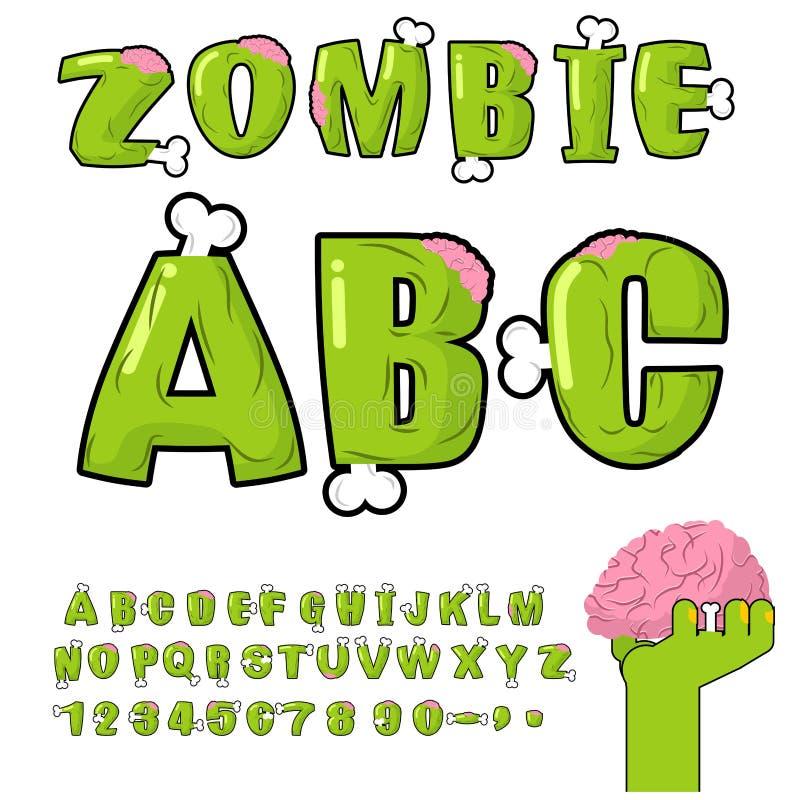 Zombie ABC Beenderen en hersenen verschrikkings monstr doopvont royalty-vrije illustratie
