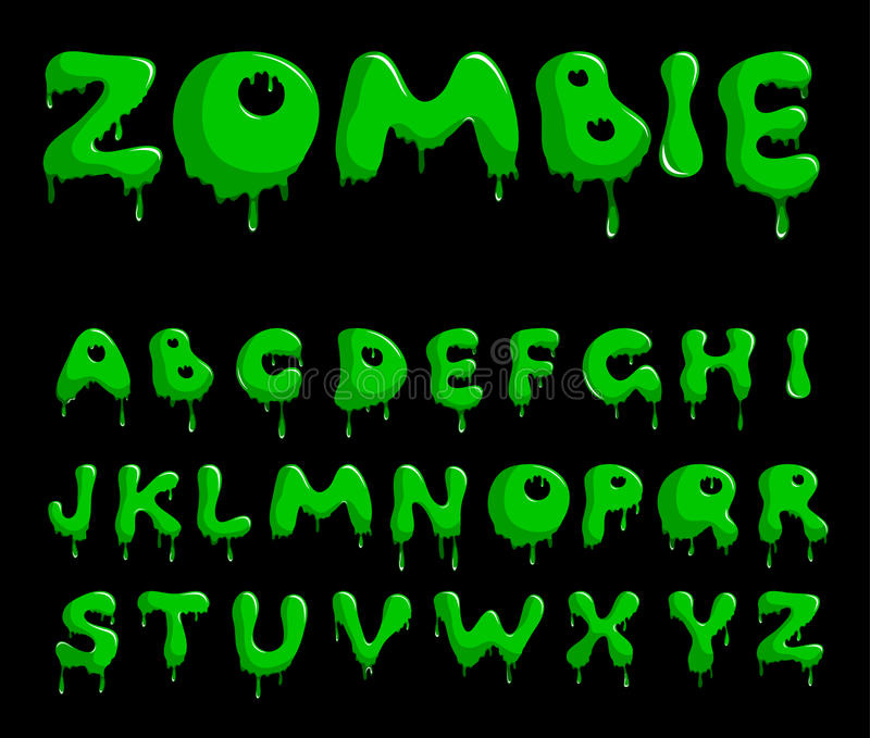 Zombie alphabet vector illustration
