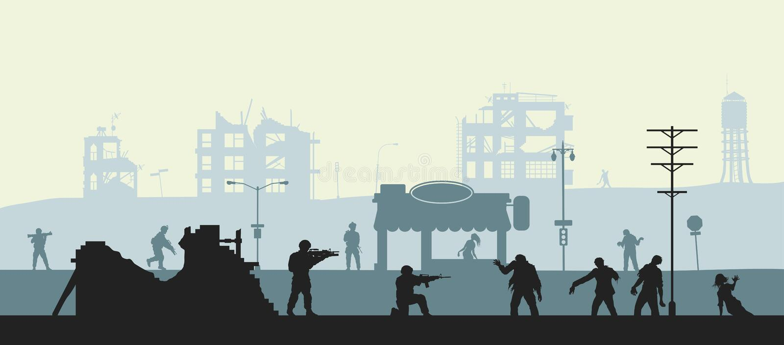 Zombie apocalypse scene. Silhouette of soldiers and dead peoples. Military landscape. Undead in city. Nightmare monsters royalty free illustration