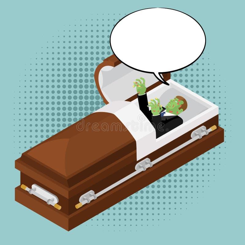 Zombie in bara nello stile di Pop art Uomo morto verde nelle coperture di legno illustrazione vettoriale