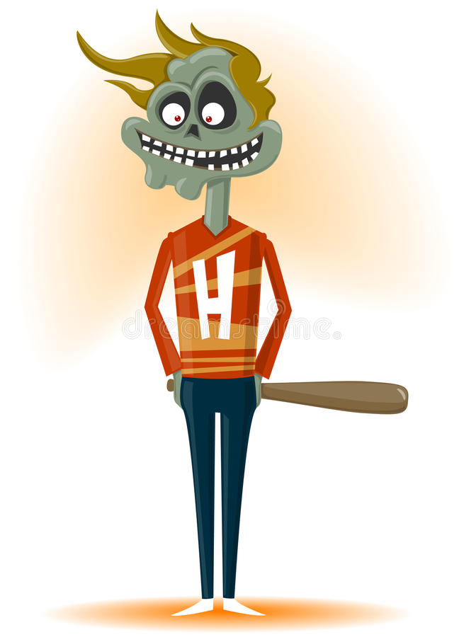 The zombie with a bat royalty free stock photography
