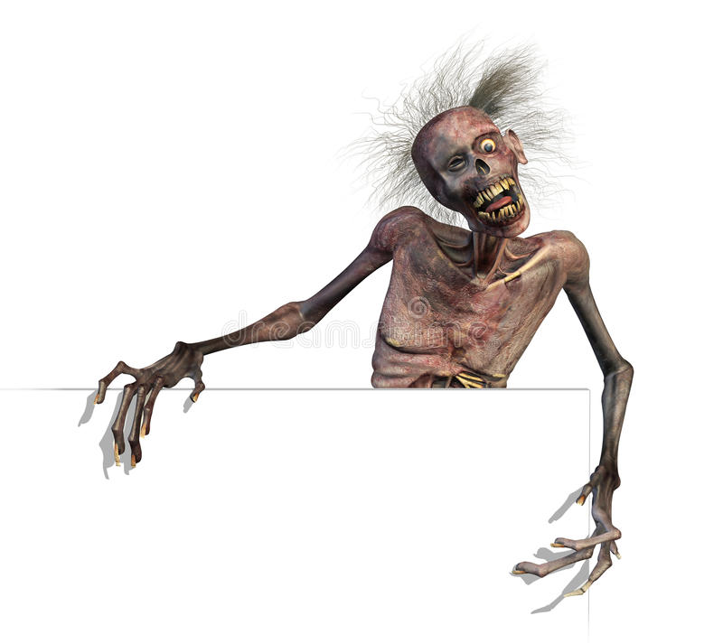 Download Zombie On Blank Sign Edge Royalty Free Stock Images - Image: 15332639