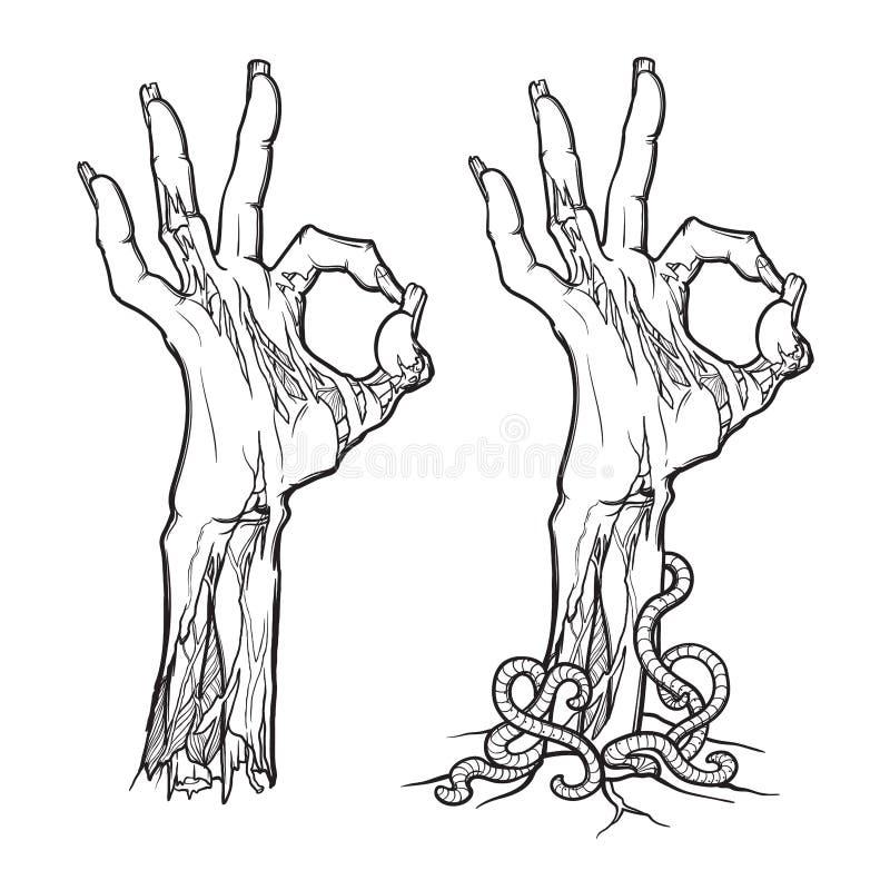 Zombie body language. OK Sign. lifelike depiction of the rotting flesh. Zombie body language. OK Sign. lifelike depiction of the rotting flash with ragged skin stock illustration