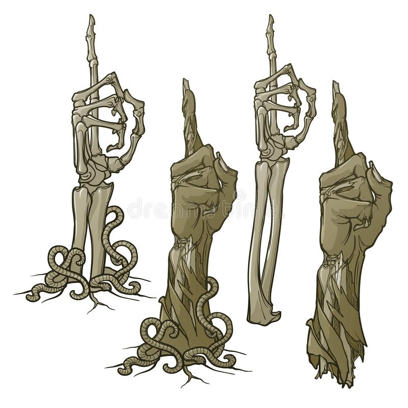 Zombie body language. Pointing finger up. Set of lifelike depicted rotting zombie hands and skeleton hands rising. From under the ground and torn apart stock illustration