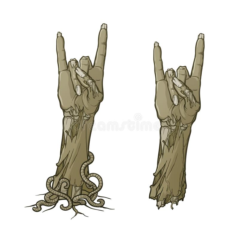 Zombie body language. Sign of the horns. lifelike depiction of the rotting flash with ragged skin, protruding bones and. Cracked nails. Monochrome linear royalty free illustration