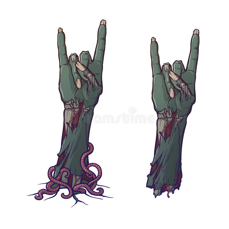 Zombie body language. Sign of the horns. lifelike depiction of the rotting flash with ragged skin, protruding bones and. Cracked nails. Painted linear drawing royalty free illustration