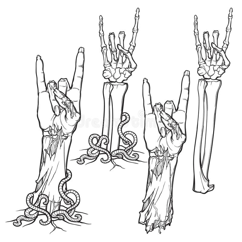 Zombie body language. Sign of the horns. lifelike depiction of the rotting. Zombie body language. Sign of the horns. Set of lifelike depicted rotting zombie royalty free illustration
