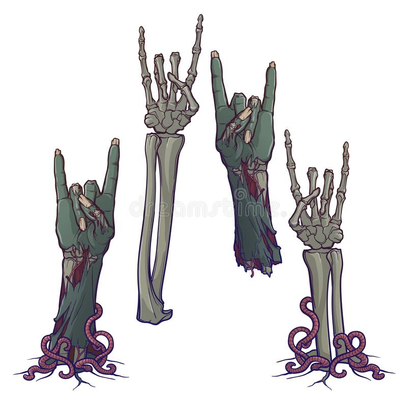 Zombie body language. Sign of the horns. lifelike depiction of the rotting flash with ragged skin, protruding bones and. Zombie body language. Sign of the horns vector illustration
