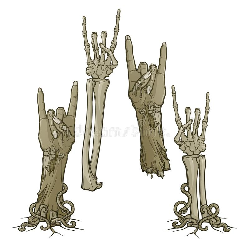 Zombie body language. Sign of the horns. lifelike depiction of the rotting flash with ragged skin, protruding bones. Zombie body language. Sign of the horns. Set vector illustration