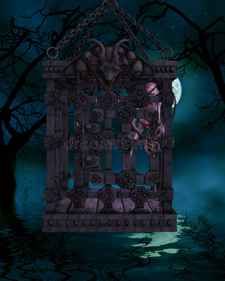 Download Zombie In A Cage - Halloween Figure Stock Illustration - Image: 15887922