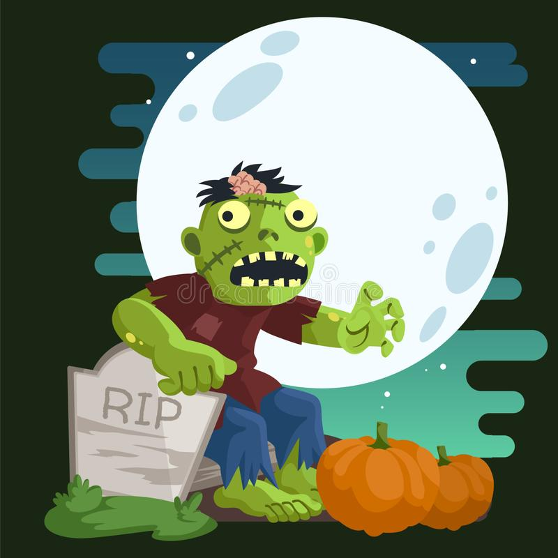 Zombie in A Cemetery. A zombie sit in cemetery behind tombstone in night sky with some pumpkins royalty free illustration