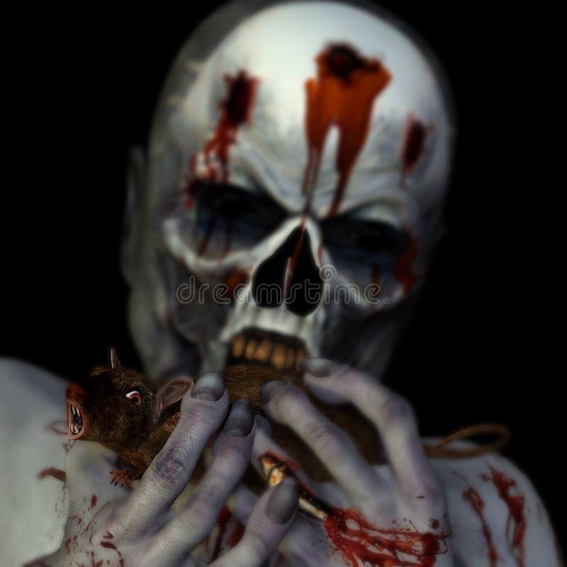 Zombie che mangia un ratto fotografie stock