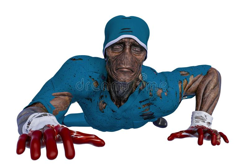 Zombie is crawling and gloomy. This infected monster in clipping path is very useful for yours halloween graphic design creations, 3d illustration vector illustration