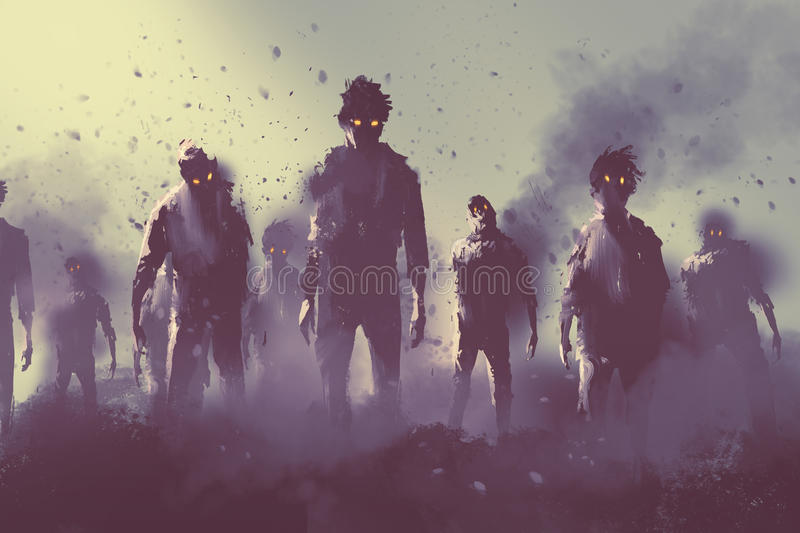 Zombie crowd walking at night. Halloween concept,illustration painting vector illustration