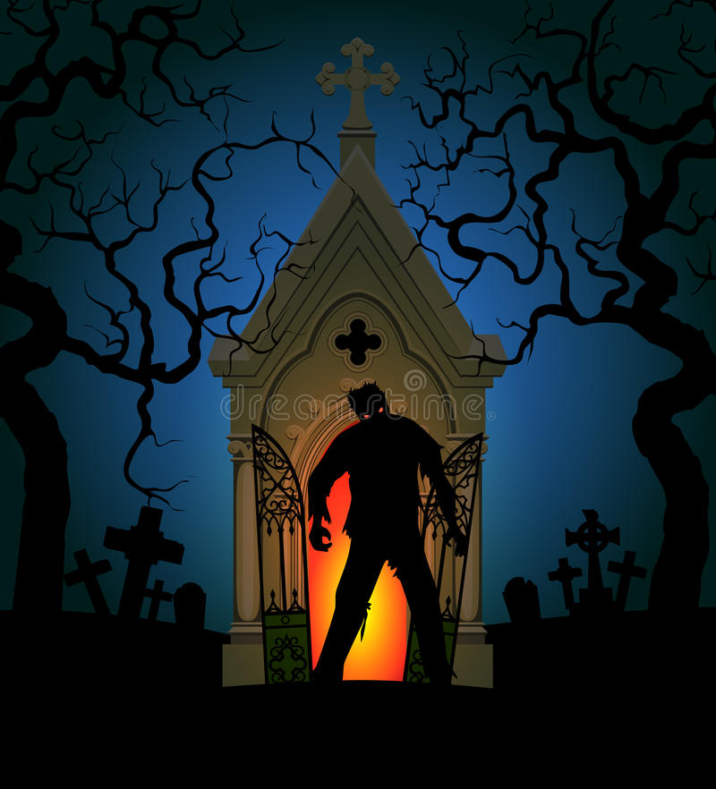 Zombie and crypt. Halloween poster with zombie and crypt at night vector illustration