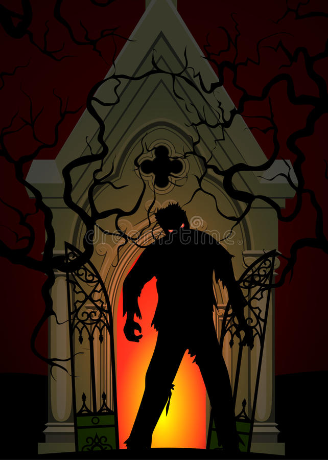 Zombie and crypt. Halloween poster with zombie and crypt at night stock illustration