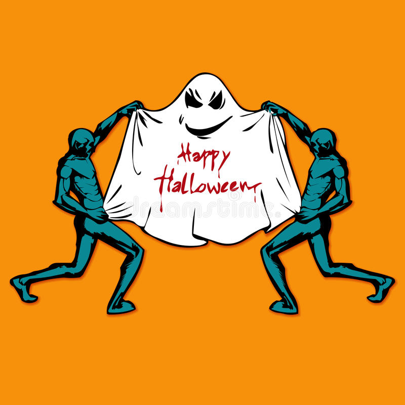 Zombie and Cute funny Ghost. Happy Halloween. Flat style royalty free illustration