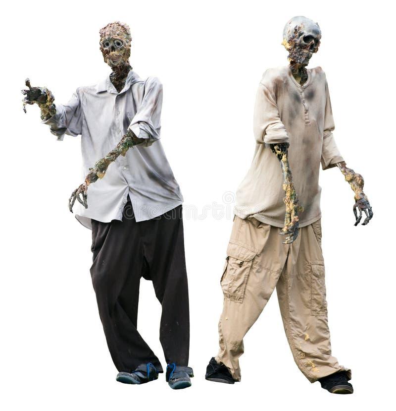 Zombie, De Lijkenetende Geesten Van De Zombieën Van Halloween Die Op Wit Worden Geïsoleerdc Stock Afbeelding
