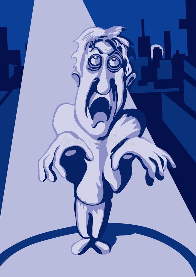 Zombie in de nachtstad royalty-vrije illustratie