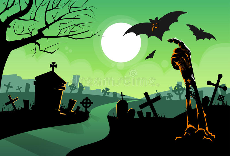 Zombie Dead Skeleton Hand From Ground Vampire Bat royalty free illustration
