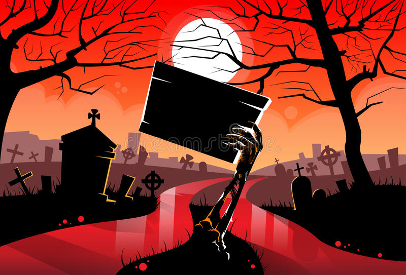 Zombie Dead Skeleton Hand Hold Sign Board, Red stock illustration