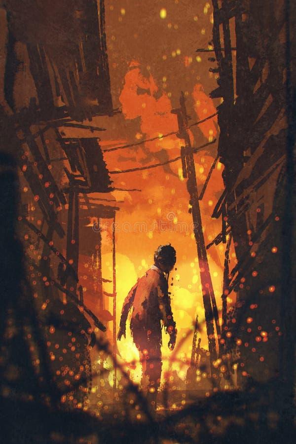 Zombie die terug met het branden van stadsachtergrond kijken stock illustratie