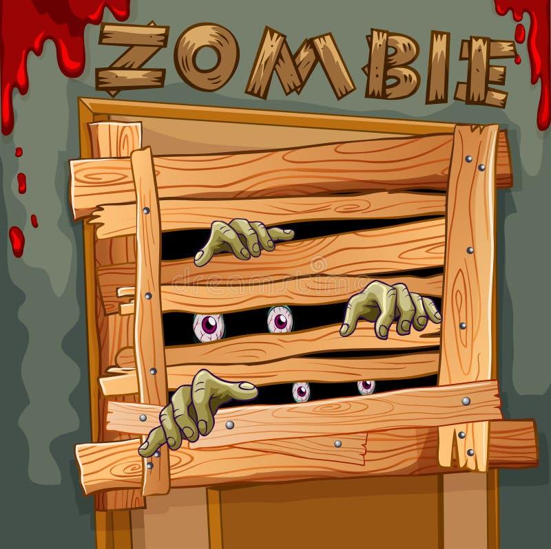 Zombie dietro la porta di legno illustrazione di stock