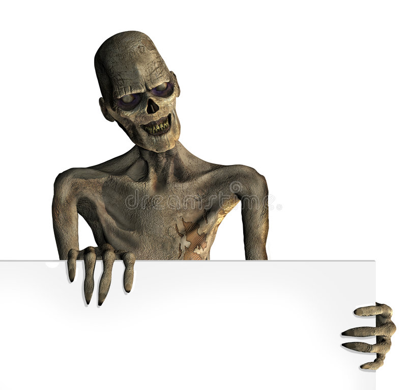 Zombie With Edge Of Blank Sign Royalty Free Stock Photography