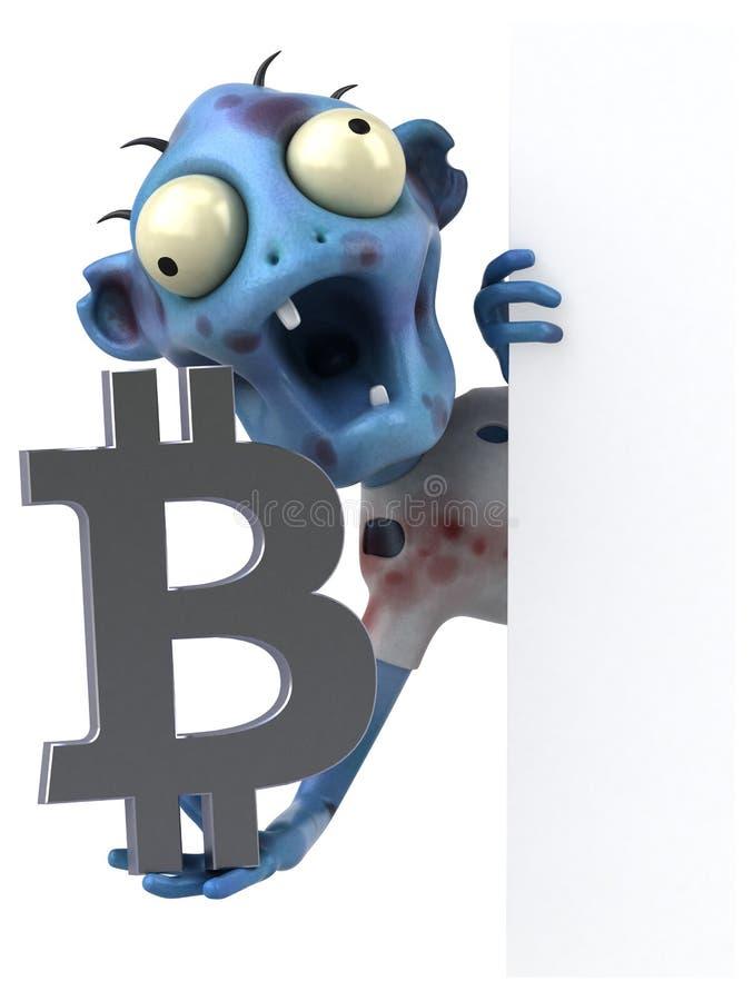 Zombie en bitcoin - 3D Illustratie vector illustratie
