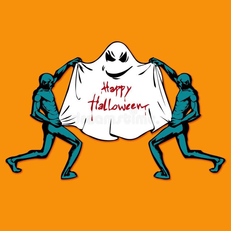 Zombie en Leuk grappig Spook Gelukkig Halloween Vlakke stijl royalty-vrije illustratie