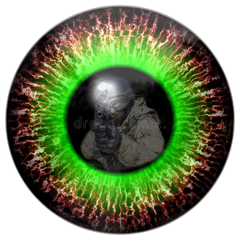Zombie eyes with the reflection headed soldier. Eyes killer. Deadly eye contact. Animal eye with contrast colored iris, detail view into eye. Killer zombies stock illustration
