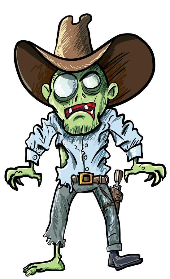 zombie för hatt för tryckspruta för bältetecknad filmcowboy stock illustrationer