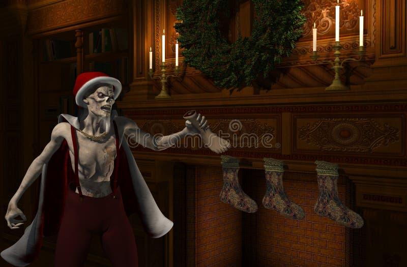 Zombie För Julfaderstockingfiller Royaltyfri Bild