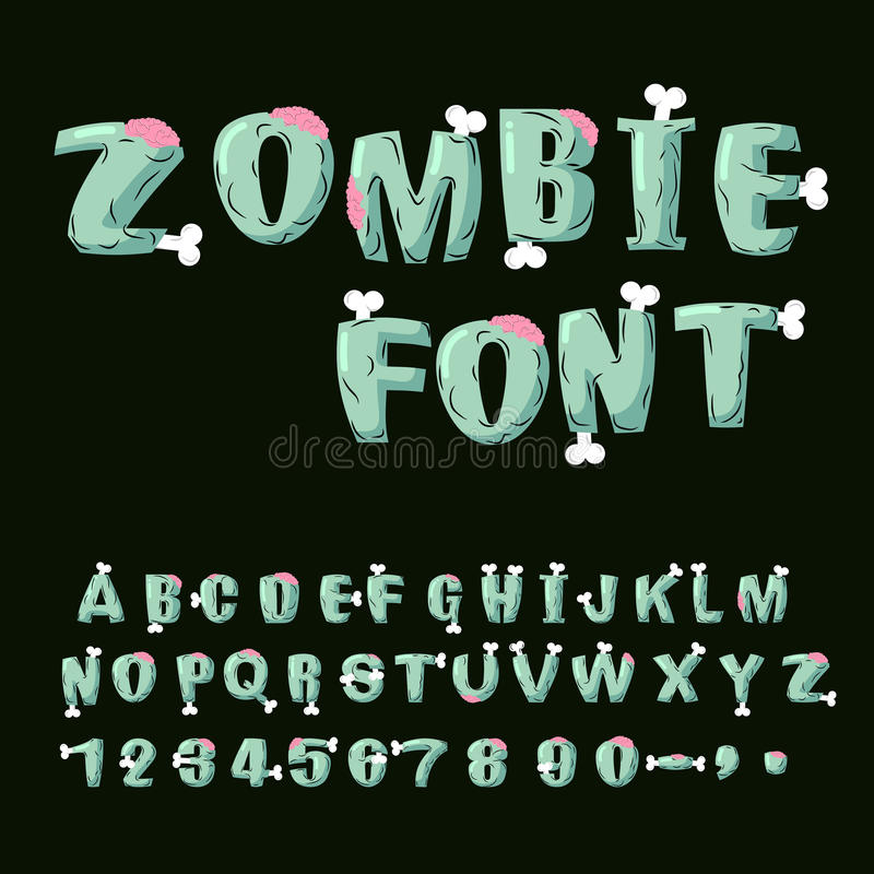 Zombie font. Bones and brains. Living dead alphabet. Green terri stock illustration
