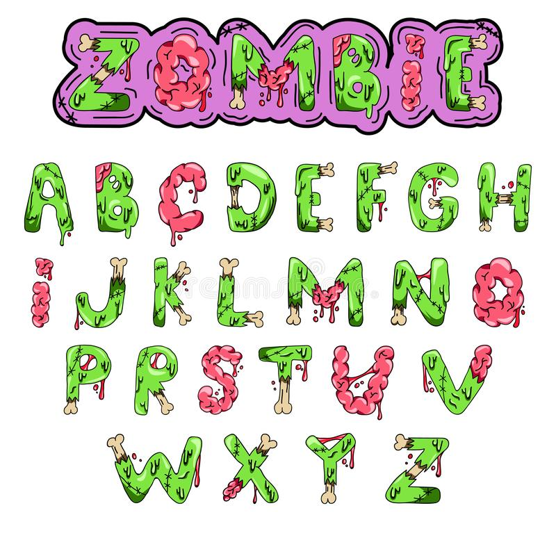 Zombie font. Cartoon green vector letters with brains and bones. Monster, halloween, scary picture. royalty free illustration