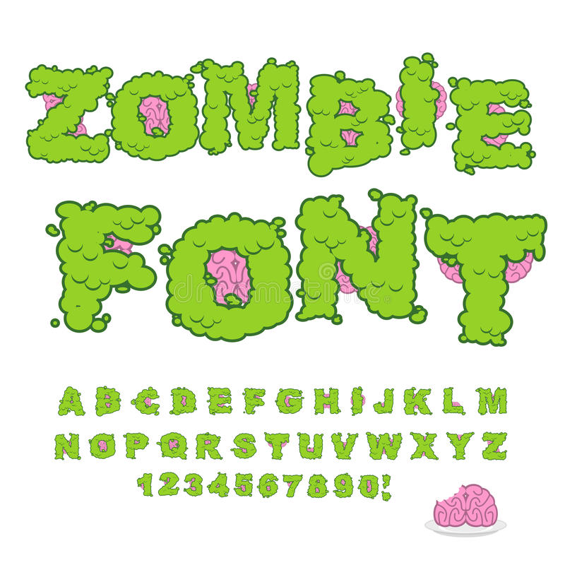 Zombie font. Scary Green letters and brain. Horrible Halloween A stock illustration