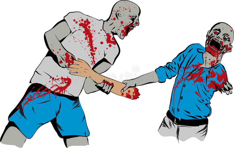 Zombie Food Fight royalty free illustration
