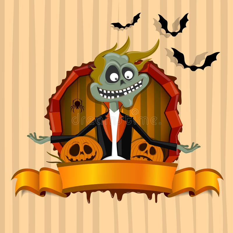 The zombie in the frame on the Halloween theme
