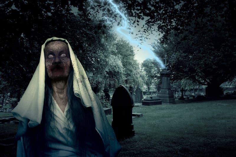 Zombie-Friedhofs-Geist mit Beleuchtung lizenzfreie stockbilder
