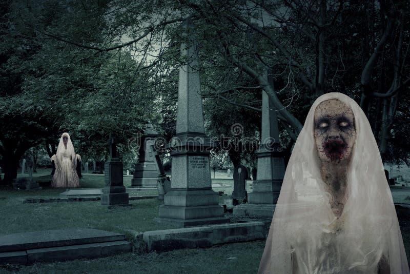 Zombie-Friedhofs-Geister lizenzfreie abbildung