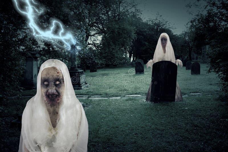 Zombie-Friedhofs-Geister mit Beleuchtung vektor abbildung